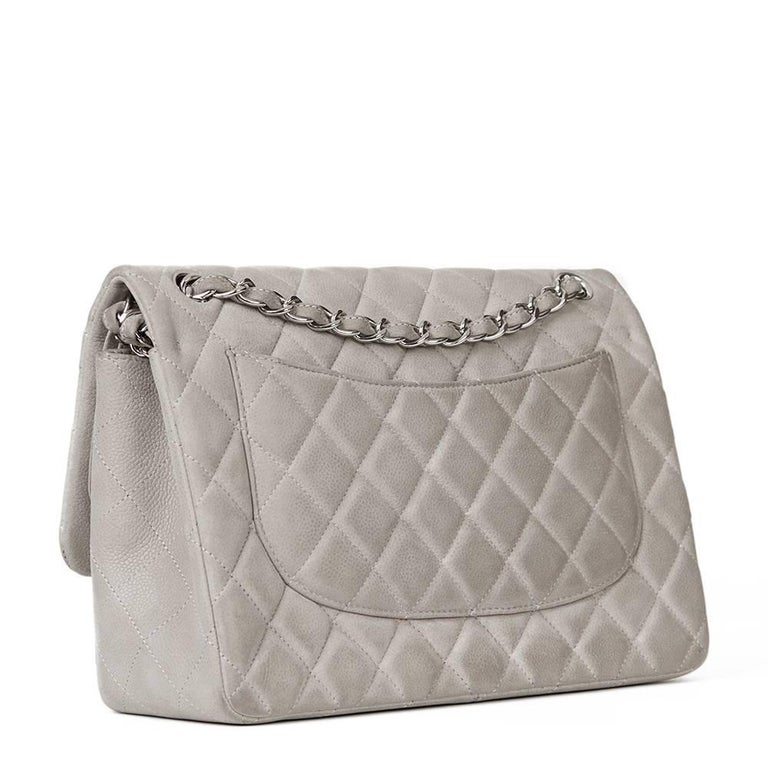 2012 Chanel Grey Quilted Caviar Suede Jumbo Classic Double Flap Bag For Sale 2