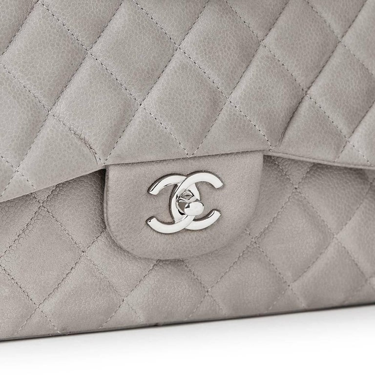 2012 Chanel Grey Quilted Caviar Suede Jumbo Classic Double Flap Bag For Sale 3