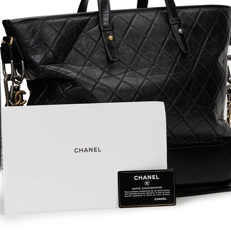 ffafc08895ff94 2017 Chanel Black Aged & Smooth Calfskin Leather Gabrielle Large Shopping  Tote For Sale 6