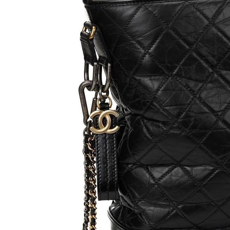 ae68fbb193d915 2017 Chanel Black Aged & Smooth Calfskin Leather Gabrielle Large Shopping  Tote For Sale 4