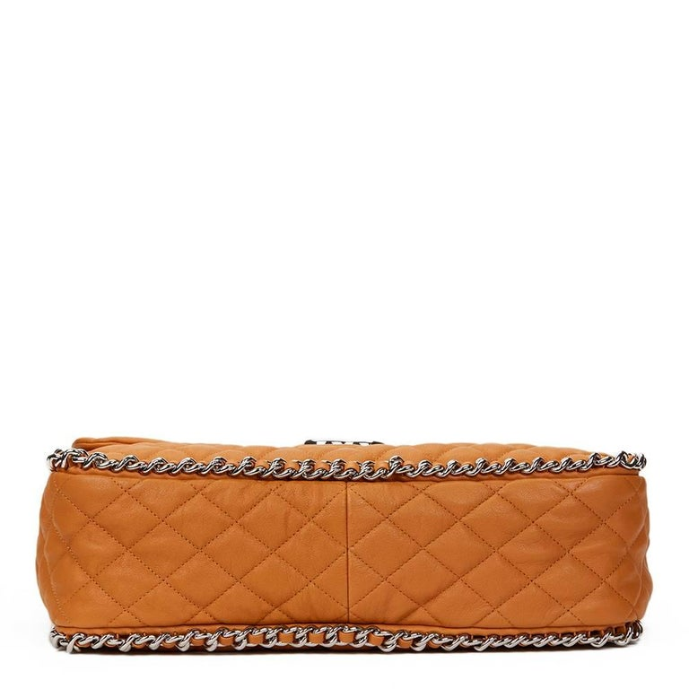 Women's 2012 Chanel Honey Beige Quilted Calfskin Chain Around Maxi Flap Bag For Sale