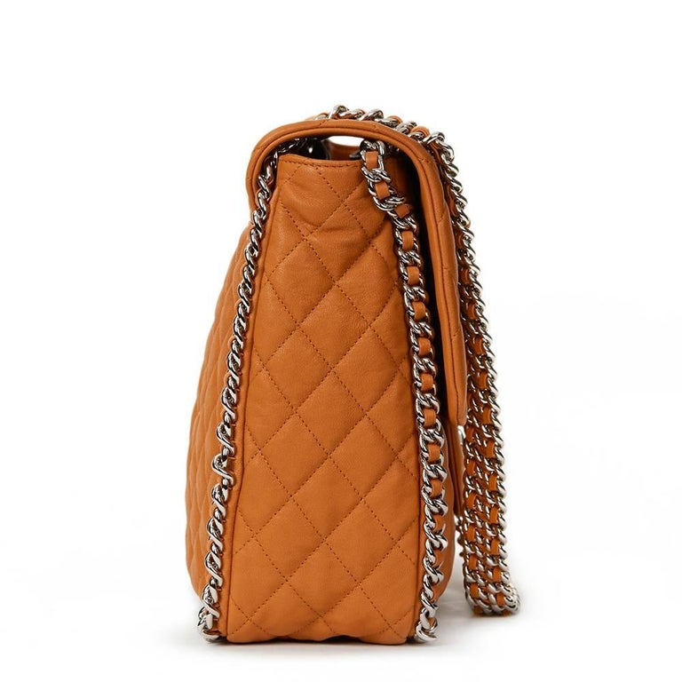 Orange 2012 Chanel Honey Beige Quilted Calfskin Chain Around Maxi Flap Bag For Sale