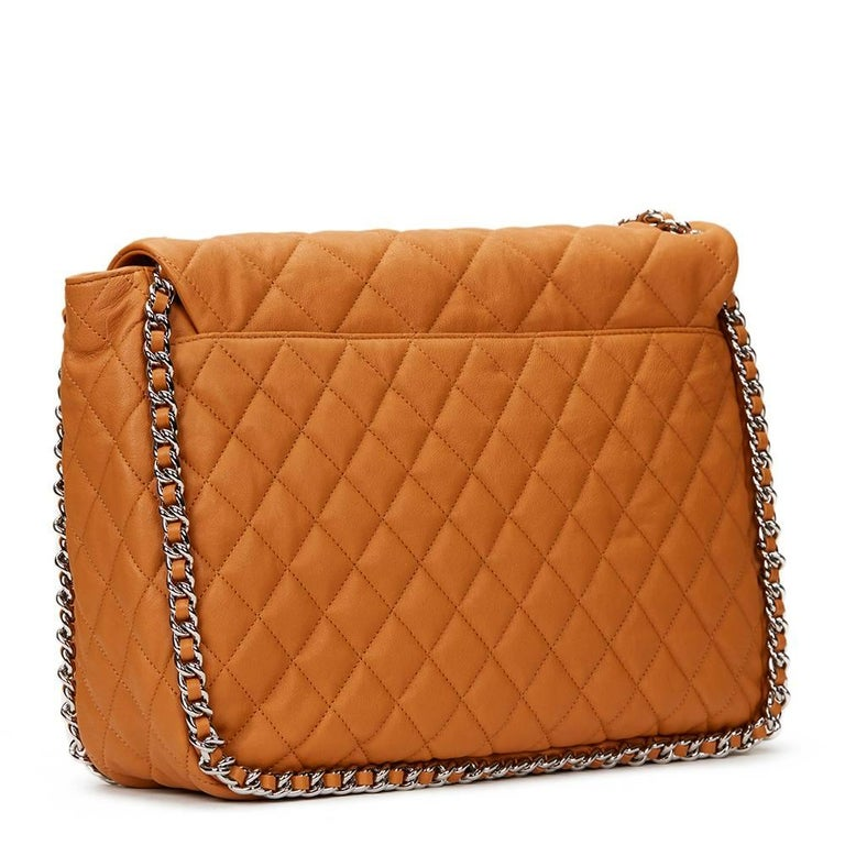 2012 Chanel Honey Beige Quilted Calfskin Chain Around Maxi Flap Bag In Excellent Condition For Sale In Bishop's Stortford, Hertfordshire