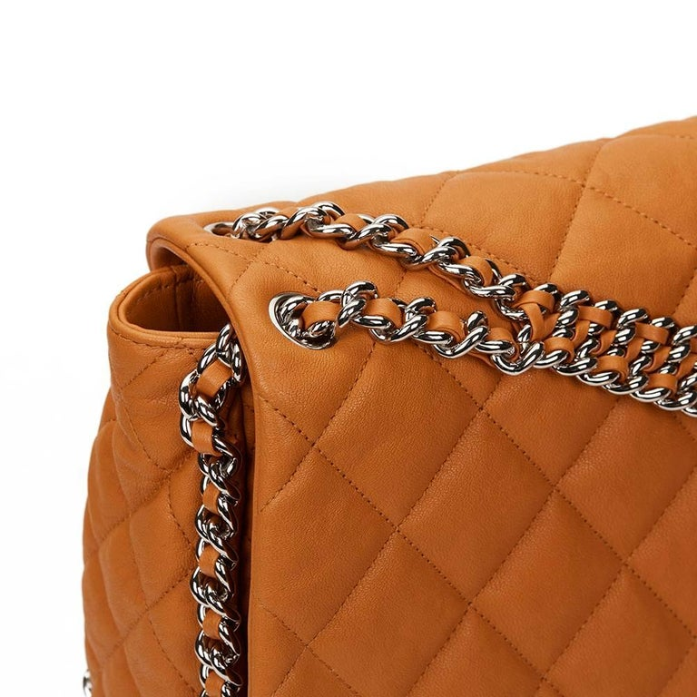 2012 Chanel Honey Beige Quilted Calfskin Chain Around Maxi Flap Bag For Sale 2