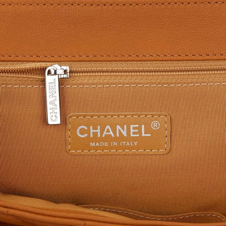 2012 Chanel Honey Beige Quilted Calfskin Chain Around Maxi Flap Bag For Sale 4