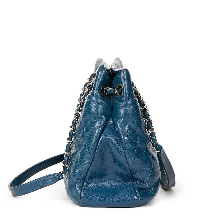 Blue 2010s Chanel Turquoise Quilted Caviar Leather Timeless Shoulder Bag For Sale