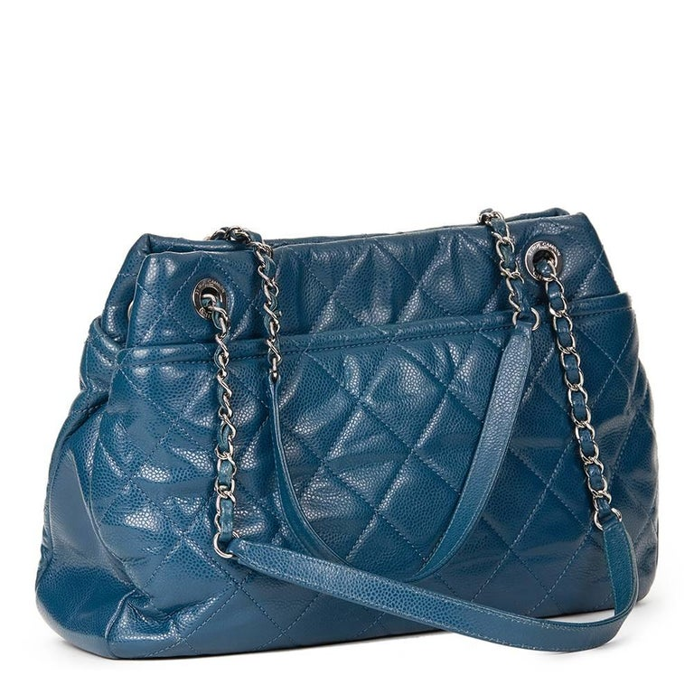 2010s Chanel Turquoise Quilted Caviar Leather Timeless Shoulder Bag For Sale 1