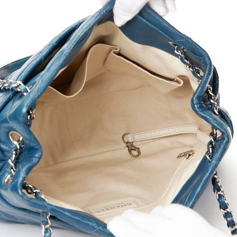 2010s Chanel Turquoise Quilted Caviar Leather Timeless Shoulder Bag For Sale 3