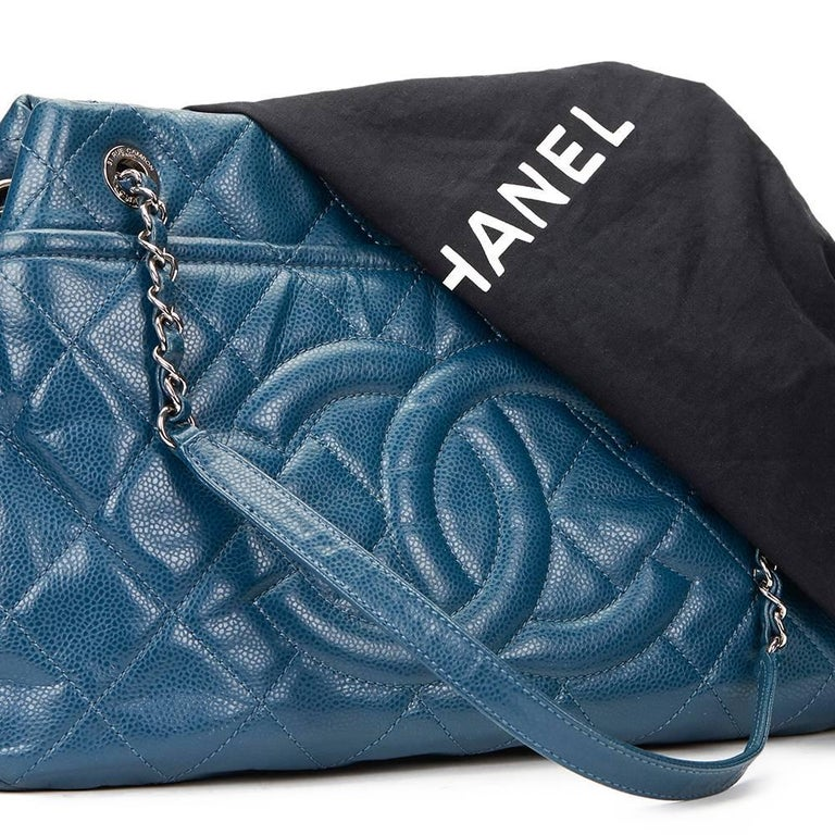 2010s Chanel Turquoise Quilted Caviar Leather Timeless Shoulder Bag For Sale 5