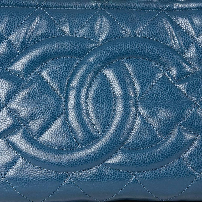 2010s Chanel Turquoise Quilted Caviar Leather Timeless Shoulder Bag For Sale 4