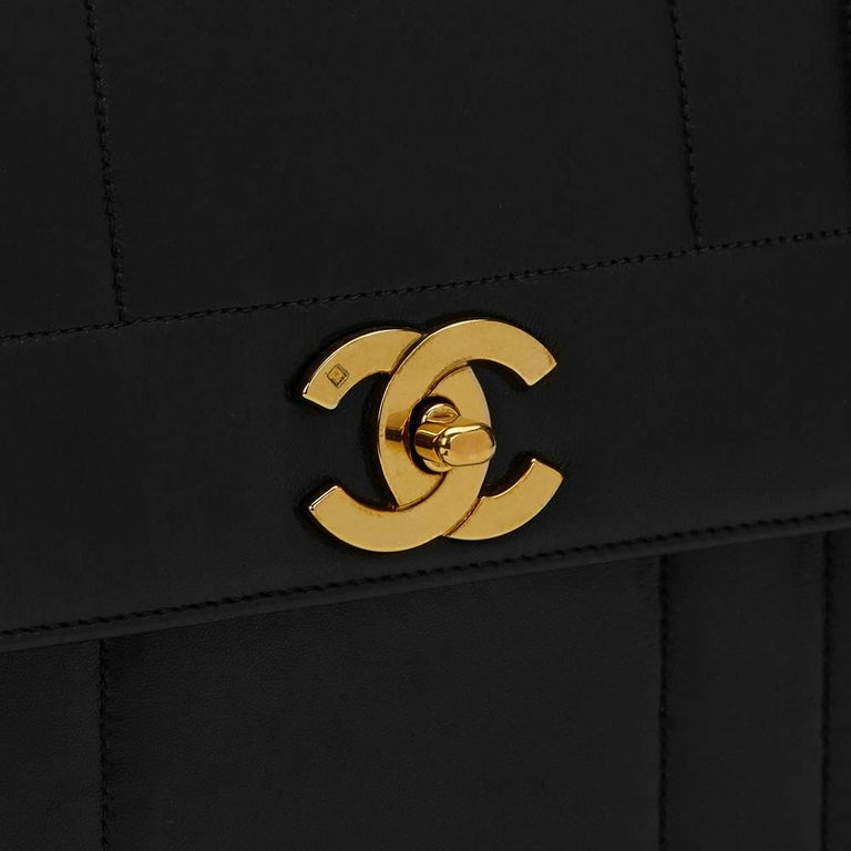 1990s Chanel Black Vertical Quilted Lambskin Vintage Timeless Kelly For Sale 4