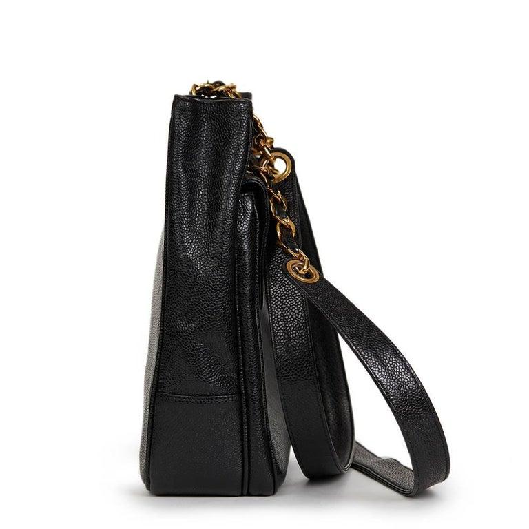 Women's 1990s Chanel Black Caviar Leather Vintage Timeless Shoulder Bag For Sale