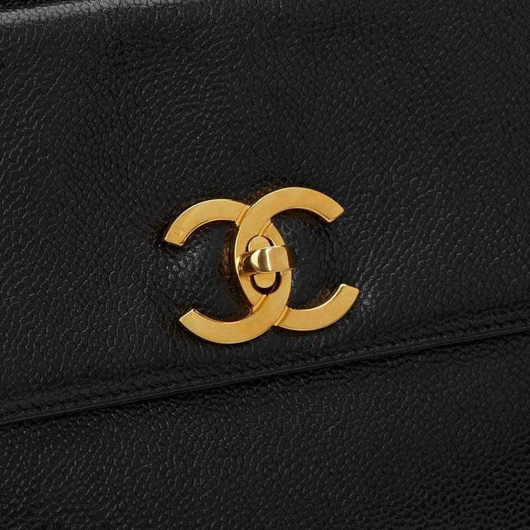 1990s Chanel Black Caviar Leather Vintage Timeless Shoulder Bag For Sale 1