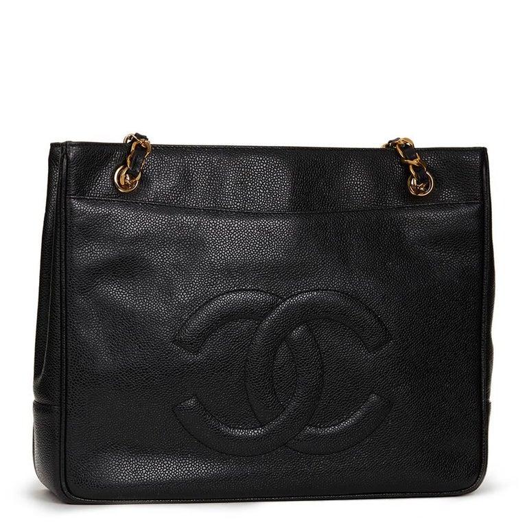 1990s Chanel Black Caviar Leather Vintage Timeless Shoulder Bag For Sale 4