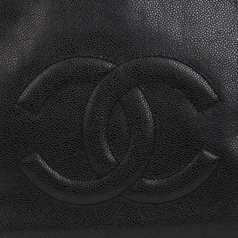 1990s Chanel Black Caviar Leather Vintage Timeless Shoulder Bag For Sale 5