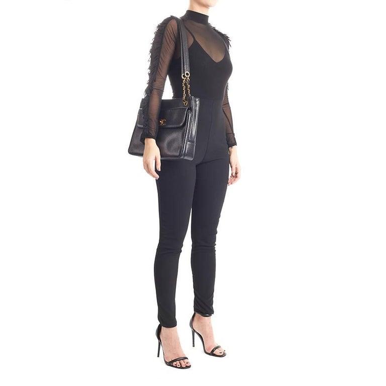 1990s Chanel Black Caviar Leather Vintage Timeless Shoulder Bag For Sale 6