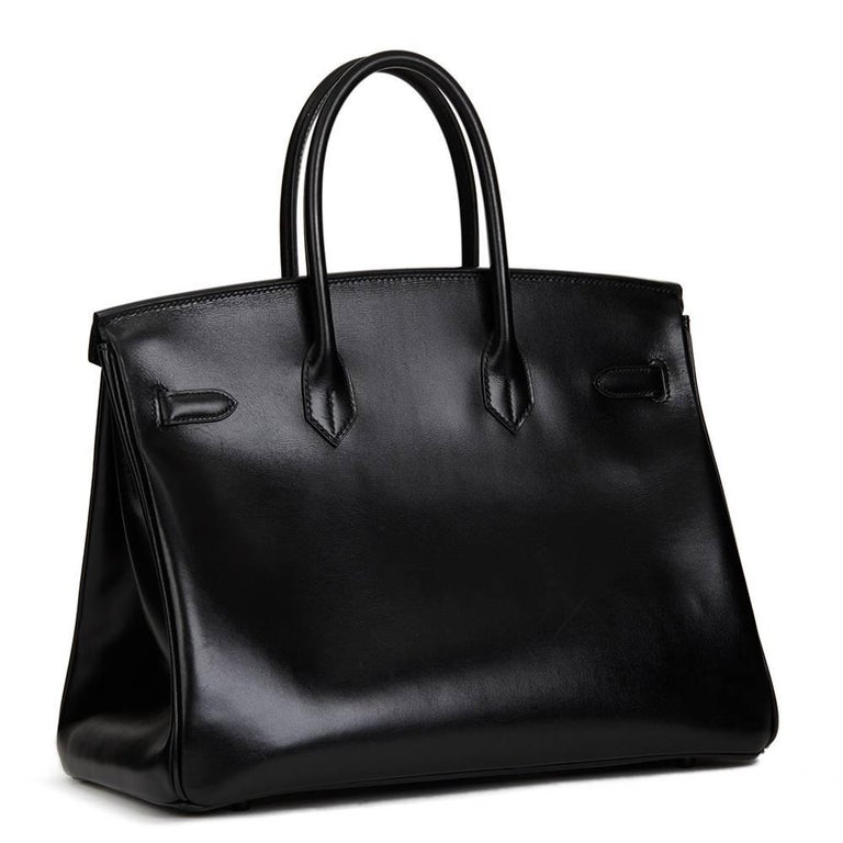 Women's 2010 Hermes Black Box Calf Leather SO Black Birkin 35cm For Sale
