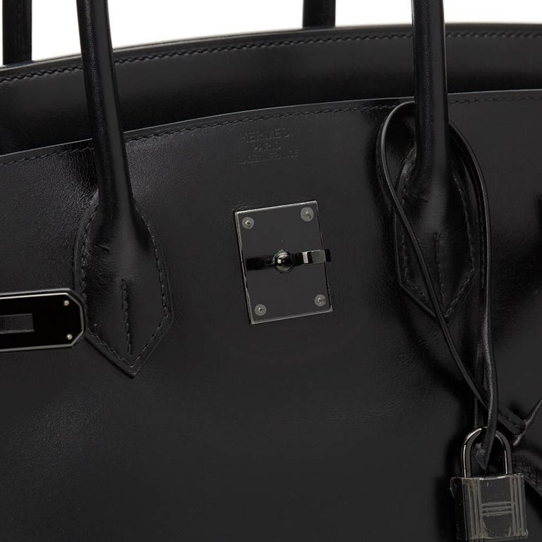 2010 Hermes Black Box Calf Leather SO Black Birkin 35cm For Sale 3