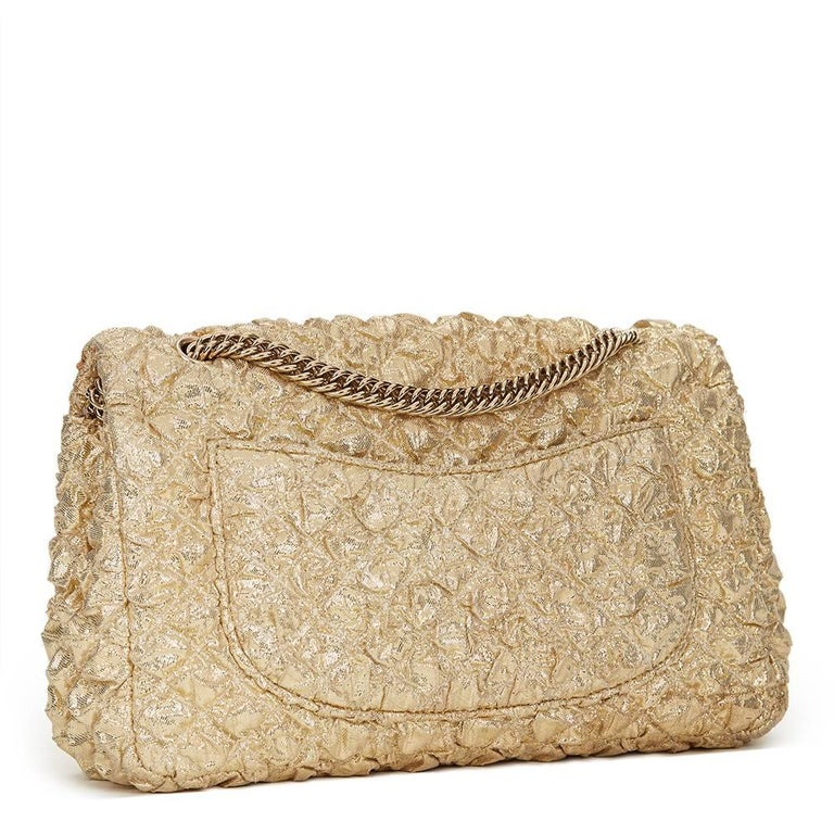 2000s Chanel Gold Quilted Lamé Fabric Small Classic Double Flap Bag 4