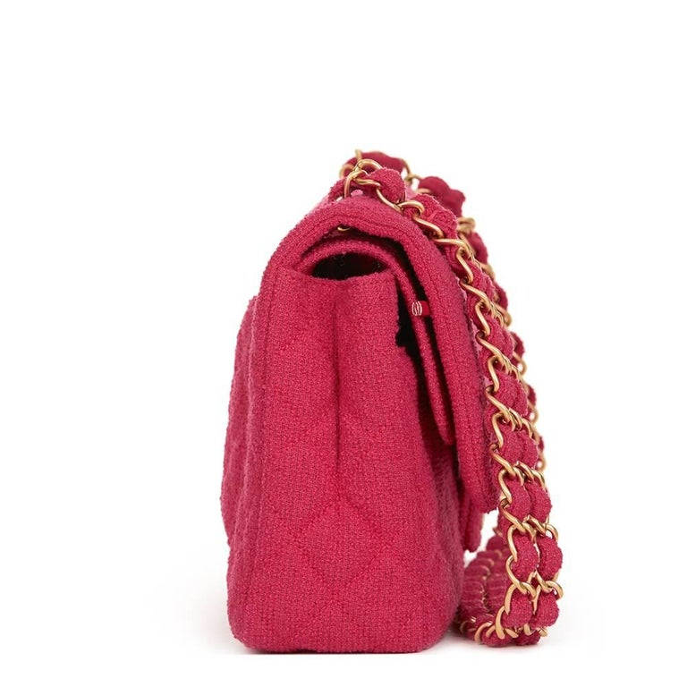 Red 2009 Chanel Fuchsia Quilted Bouclé Fabric Medium Classic Double Flap Bag For Sale