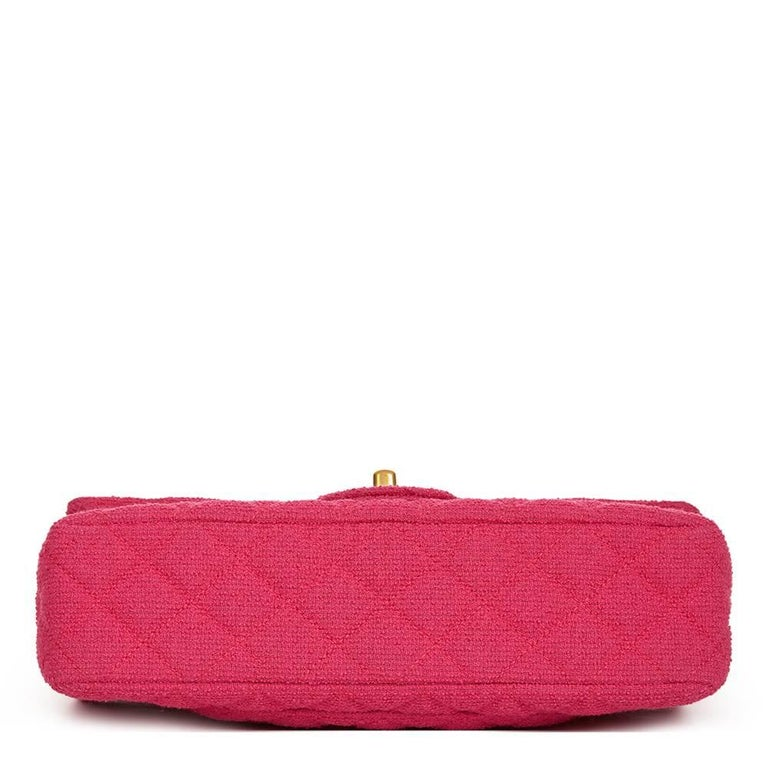 2000s Chanel Fuchsia Quilted Bouclé Fabric Medium Classic Double Flap Bag In Excellent Condition For Sale In Bishop's Stortford, GB
