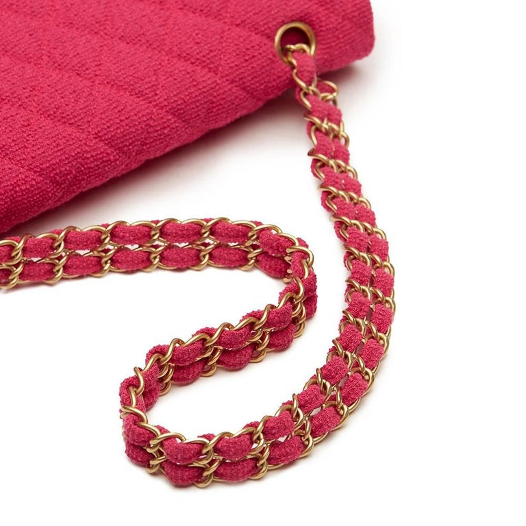 Women's 2000s Chanel Fuchsia Quilted Bouclé Fabric Medium Classic Double Flap Bag For Sale