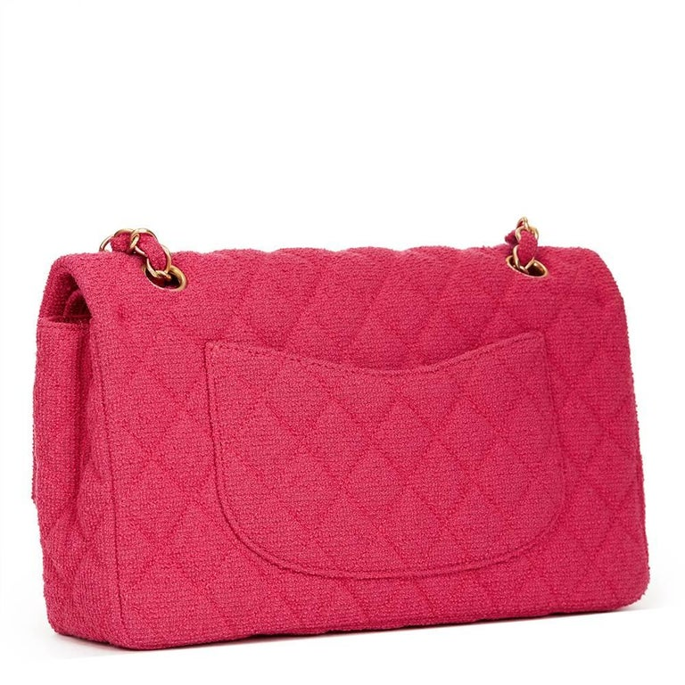 2000s Chanel Fuchsia Quilted Bouclé Fabric Medium Classic Double Flap Bag For Sale 3