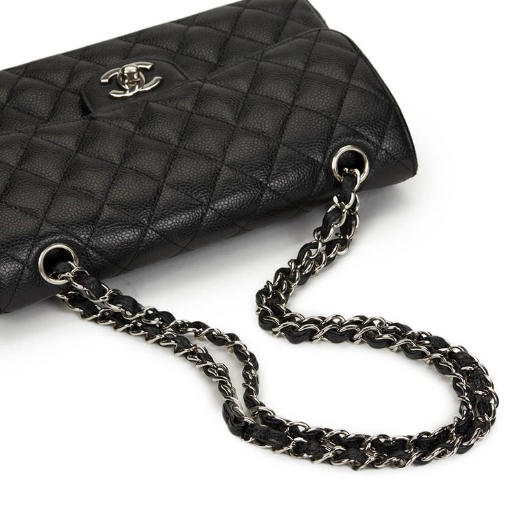 5baed819af9d 2005 Chanel Black Quilted Caviar Leather Small Classic Double Flap For Sale  3