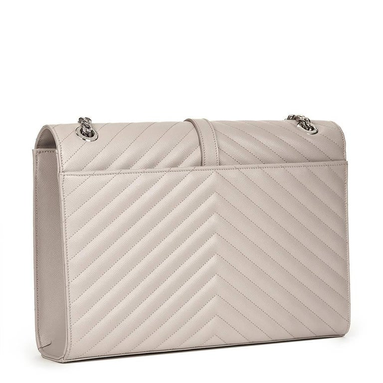 2016 Saint Laurent Icy White Chevron Quilted Grained Calfskin Leather Envelope  For Sale 1