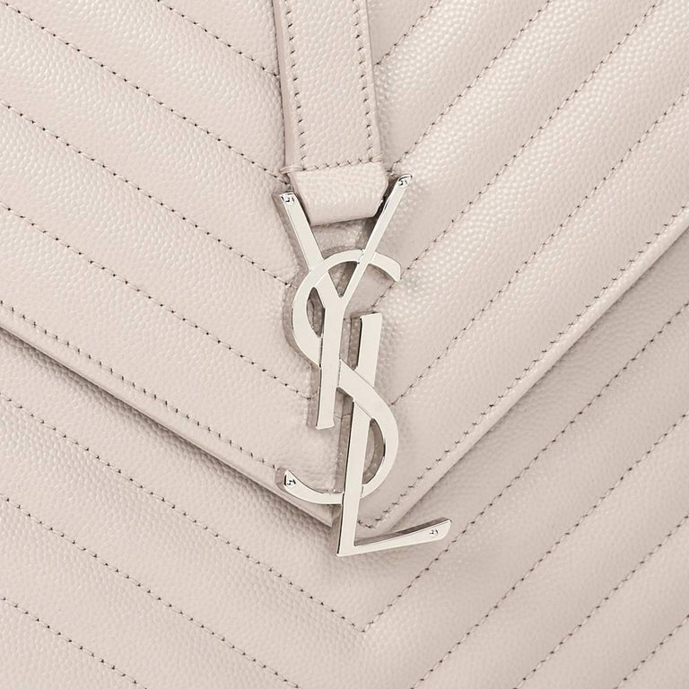 2016 Saint Laurent Icy White Chevron Quilted Grained Calfskin Leather Envelope  For Sale 4