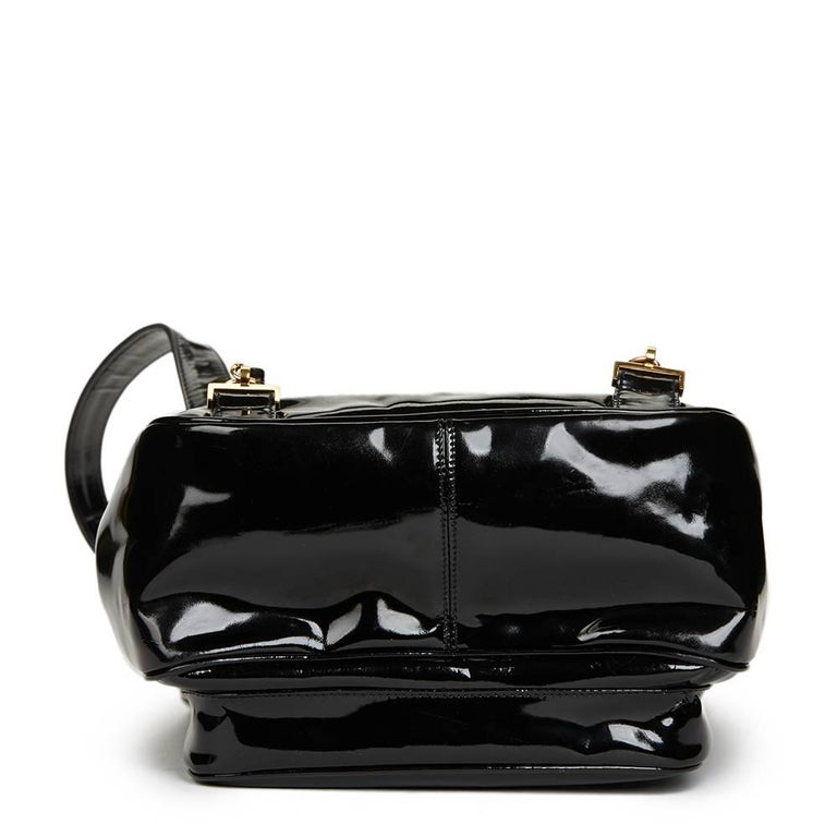 1995 Chanel Black Patent Leather Vintage Timeless Backpack 4
