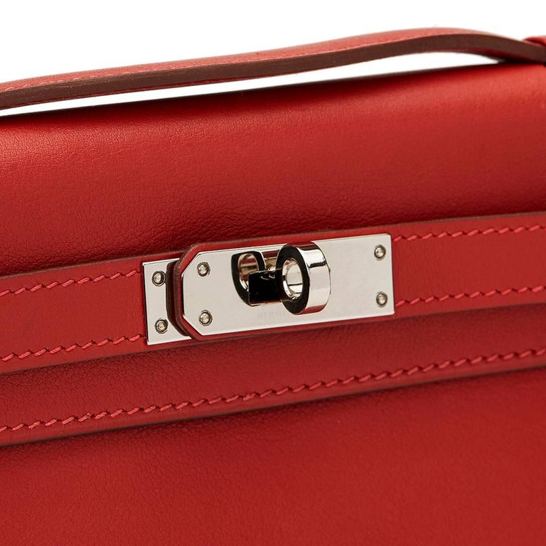 2007 Hermes Rouge Garance Swift Leather Kelly Longue Clutch For Sale 3