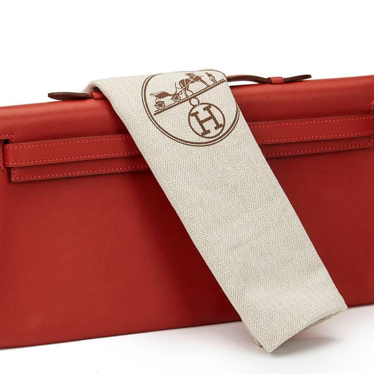 2007 Hermes Rouge Garance Swift Leather Kelly Longue Clutch For Sale 4