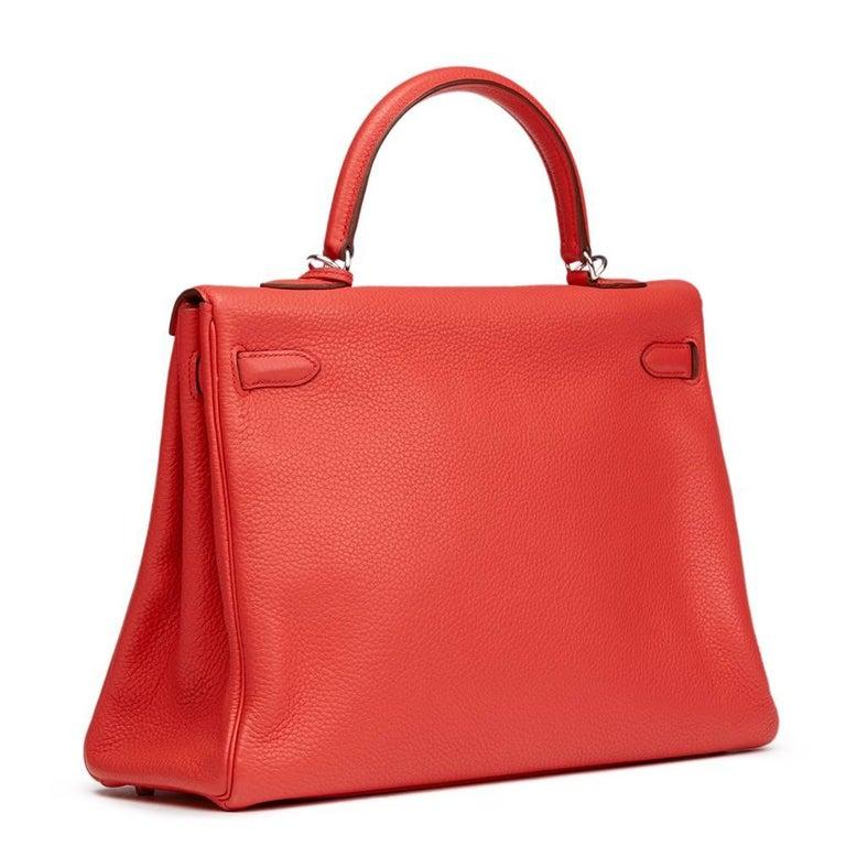 Red 2010 Hermes Bougainvillier Togo Leather Kelly 35cm Retourne For Sale