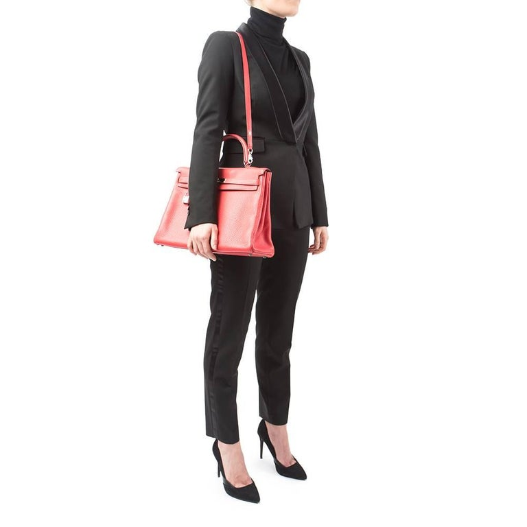 2010 Hermes Bougainvillier Togo Leather Kelly 35cm Retourne For Sale 5