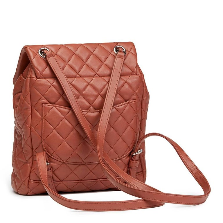 2016 Chanel Brick Brown Quilted Lambskin Small Urban Spirit Backpack 4