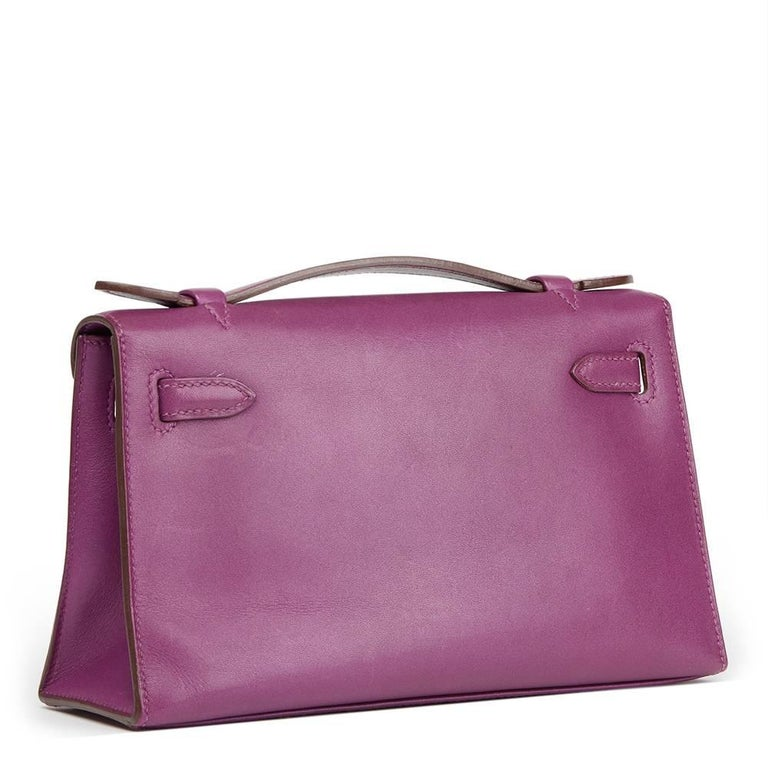 Pink 2010 Hermes Anemone Swift Leather Kelly Pochette  For Sale