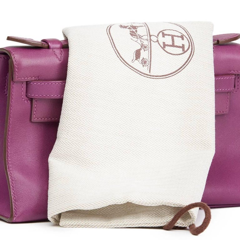2010 Hermes Anemone Swift Leather Kelly Pochette  For Sale 4