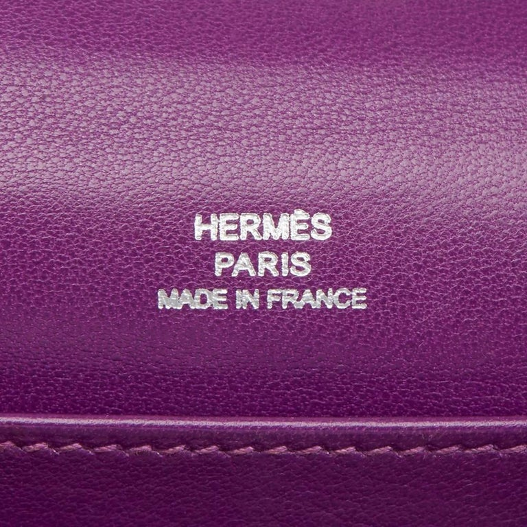 2010 Hermes Anemone Swift Leather Kelly Pochette  For Sale 2