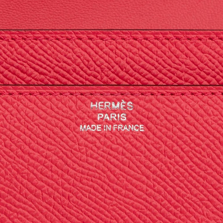 2017 Hermes Rose Extreme Epsom Leather Constance Long Wallet  For Sale 1