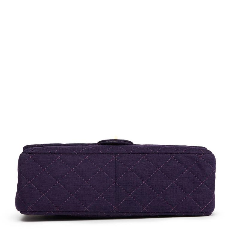 2013 Chanel Violet Quilted Jersey Fabric 2.55 Reissue 226 Double Flap Bag In Excellent Condition For Sale In Bishop's Stortford, Hertfordshire