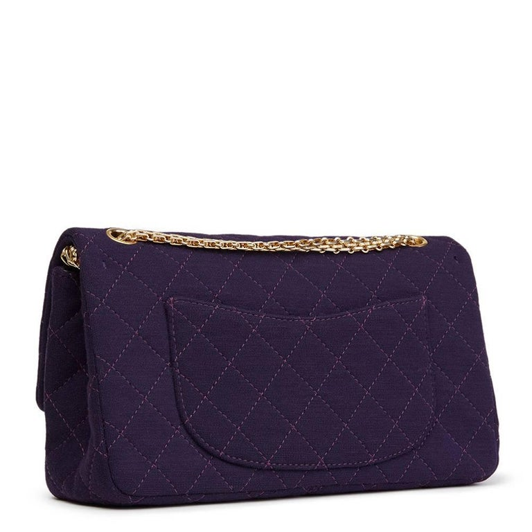 Black 2013 Chanel Violet Quilted Jersey Fabric 2.55 Reissue 226 Double Flap Bag For Sale