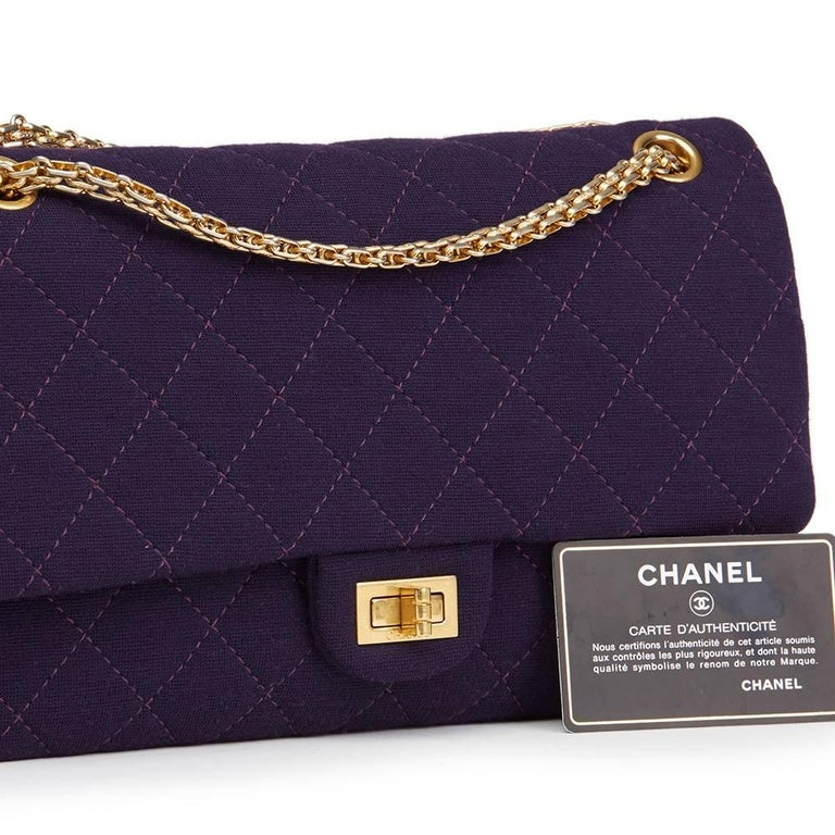 2013 Chanel Violet Quilted Jersey Fabric 2.55 Reissue 226 Double Flap Bag For Sale 4