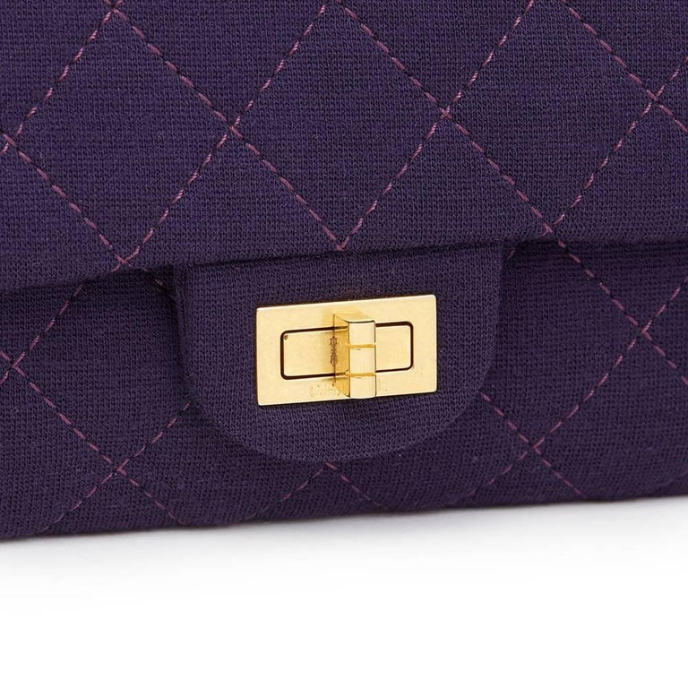 Women's 2013 Chanel Violet Quilted Jersey Fabric 2.55 Reissue 226 Double Flap Bag For Sale