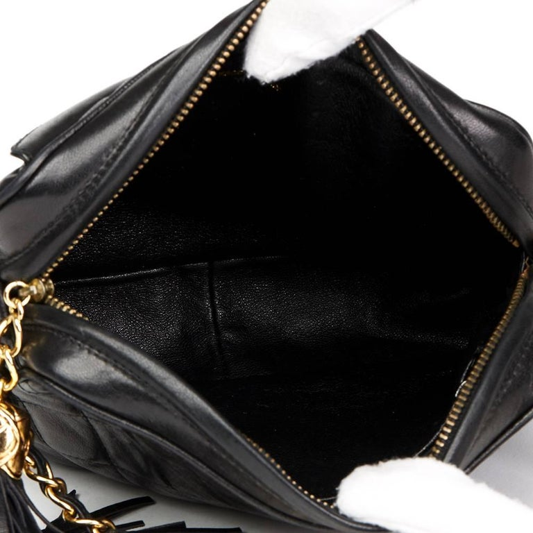 1990's Chanel Black Quilted Lambskin Vintage Tassel Camera Bag  For Sale 4