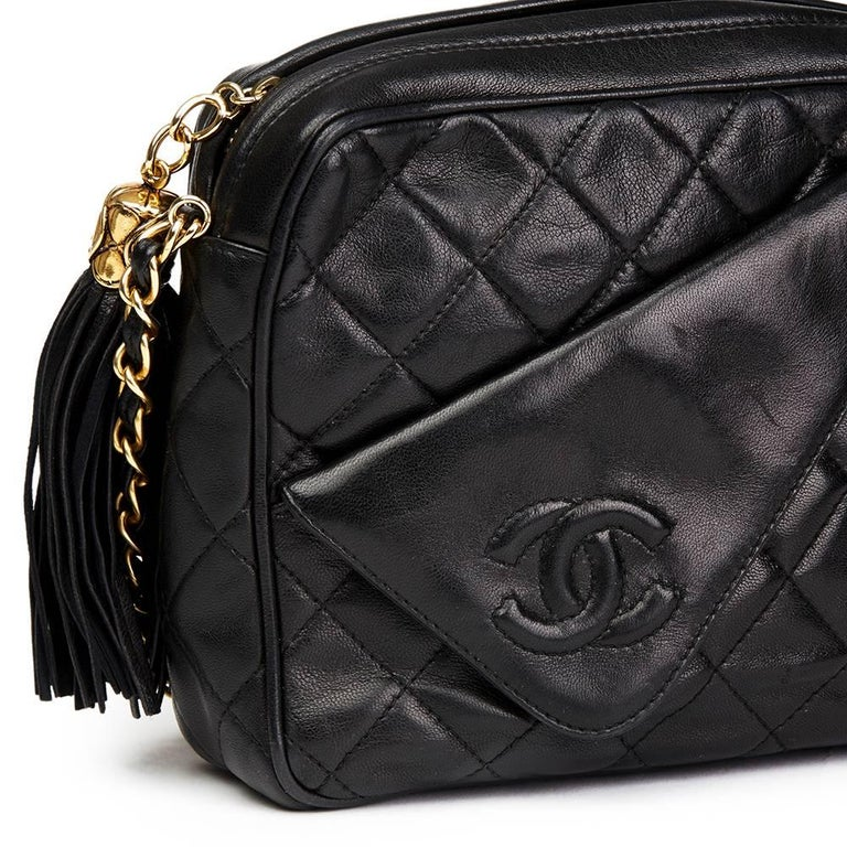 1990's Chanel Black Quilted Lambskin Vintage Tassel Camera Bag  For Sale 1