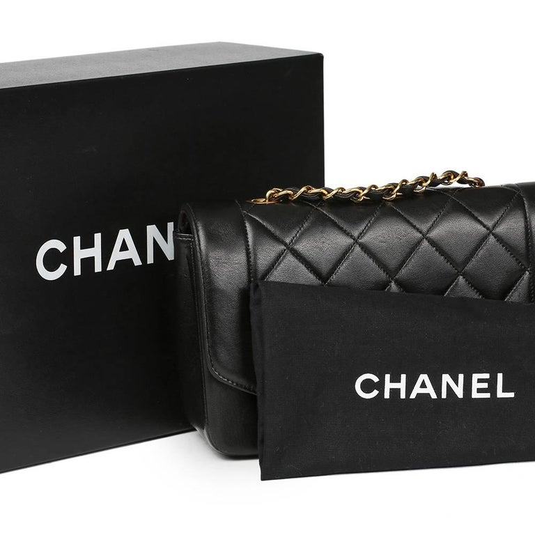 1990s Chanel Black Quilted Lambskin Vintage Small Diana Classic Single Flap Bag For Sale 5