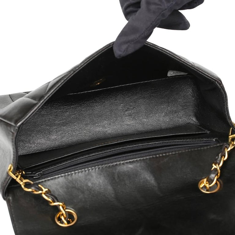 1990s Chanel Black Quilted Lambskin Vintage Small Diana Classic Single Flap Bag For Sale 3