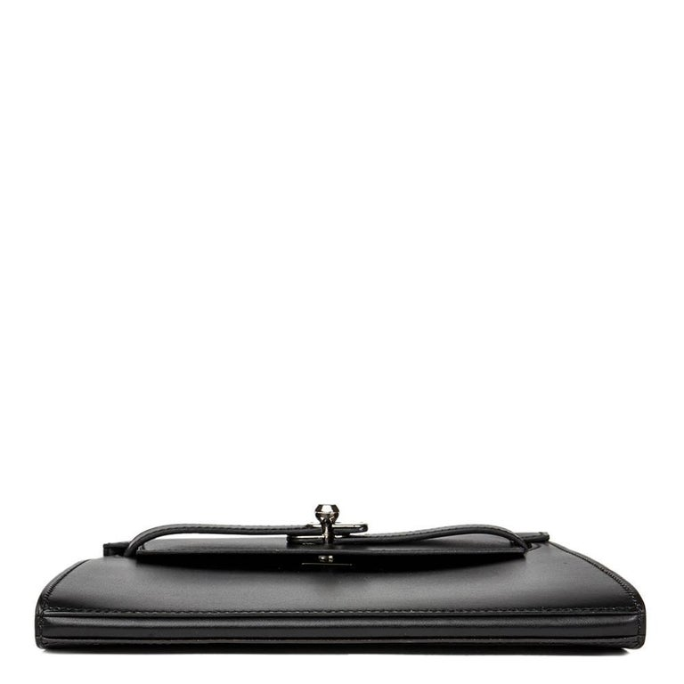 2000 Hermes Black Box Calf Leather Kelly Danse Clutch For Sale 1