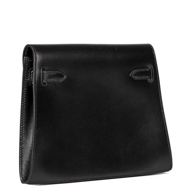 Women's 2000 Hermes Black Box Calf Leather Kelly Danse Clutch For Sale